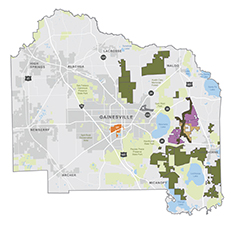 Map of Regional Landscape Linkages through Proposed Envision Alachua Sector Plan Conservation